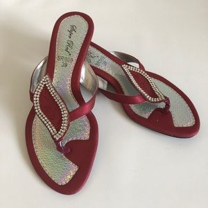 Shoes - Slip on thong sandals Burgundy